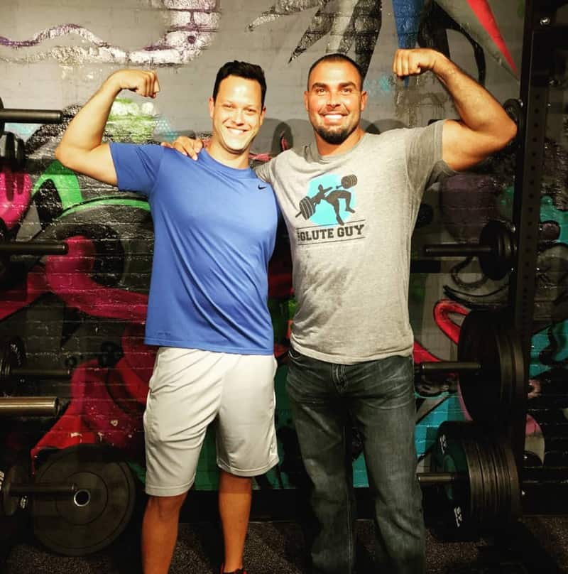 Menachem Brodie with Bret Contreras, the Glute Guy, after a workshop
